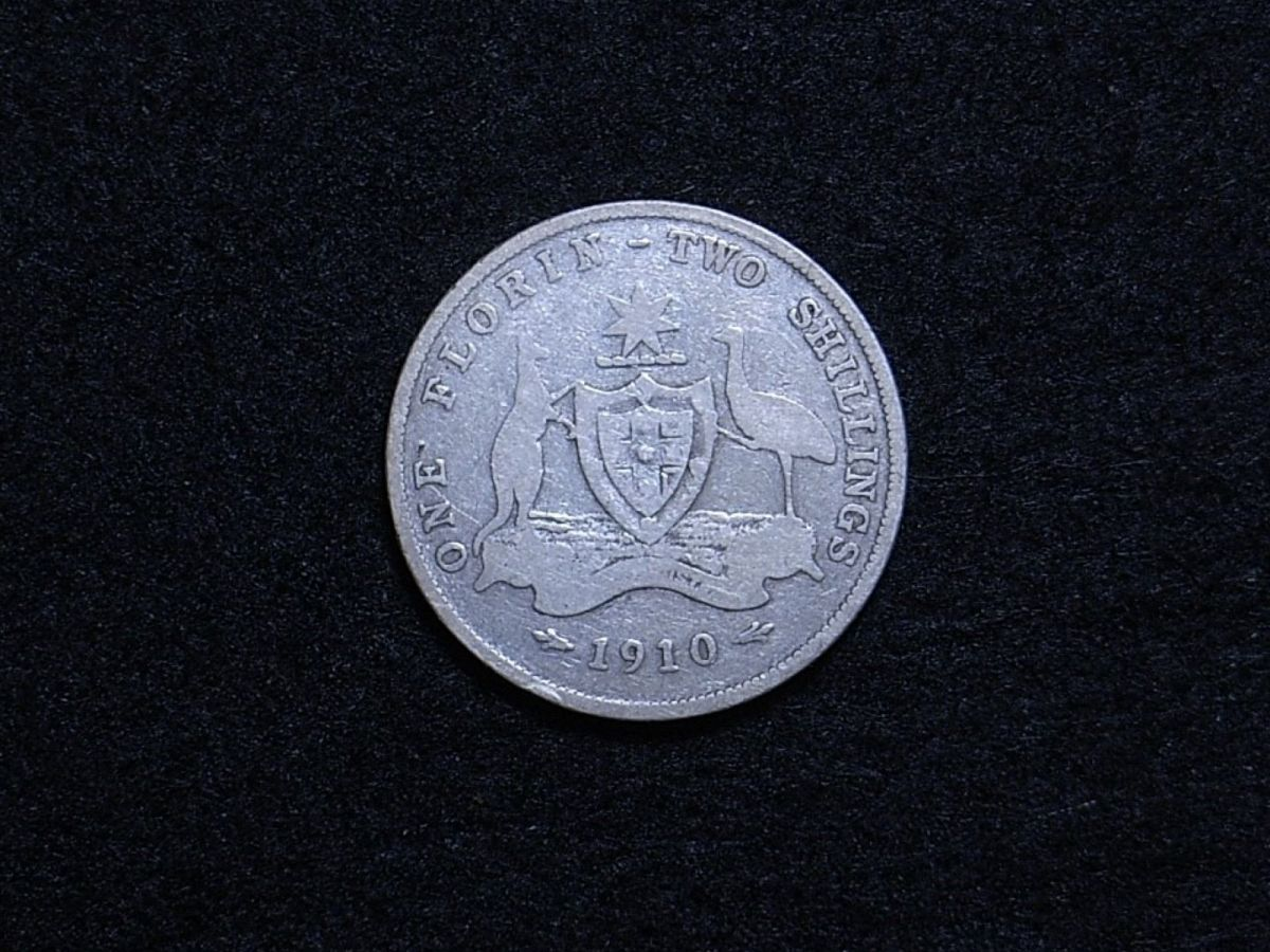 Aus Florin 1910 reverse showing overall appearance