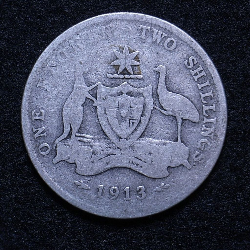 Close up Aus Florin 1913 reverse showing detail