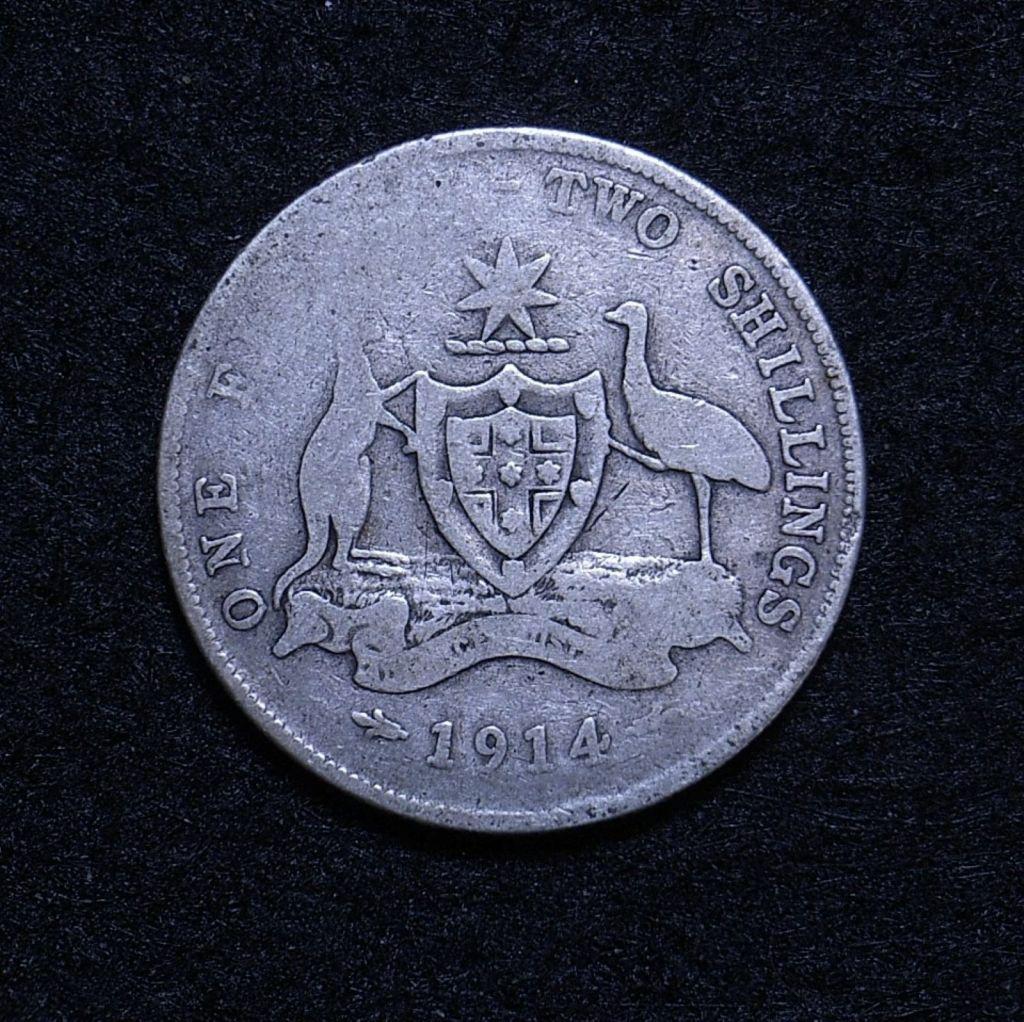 Close up Aus Florin 1914 reverse showing detail