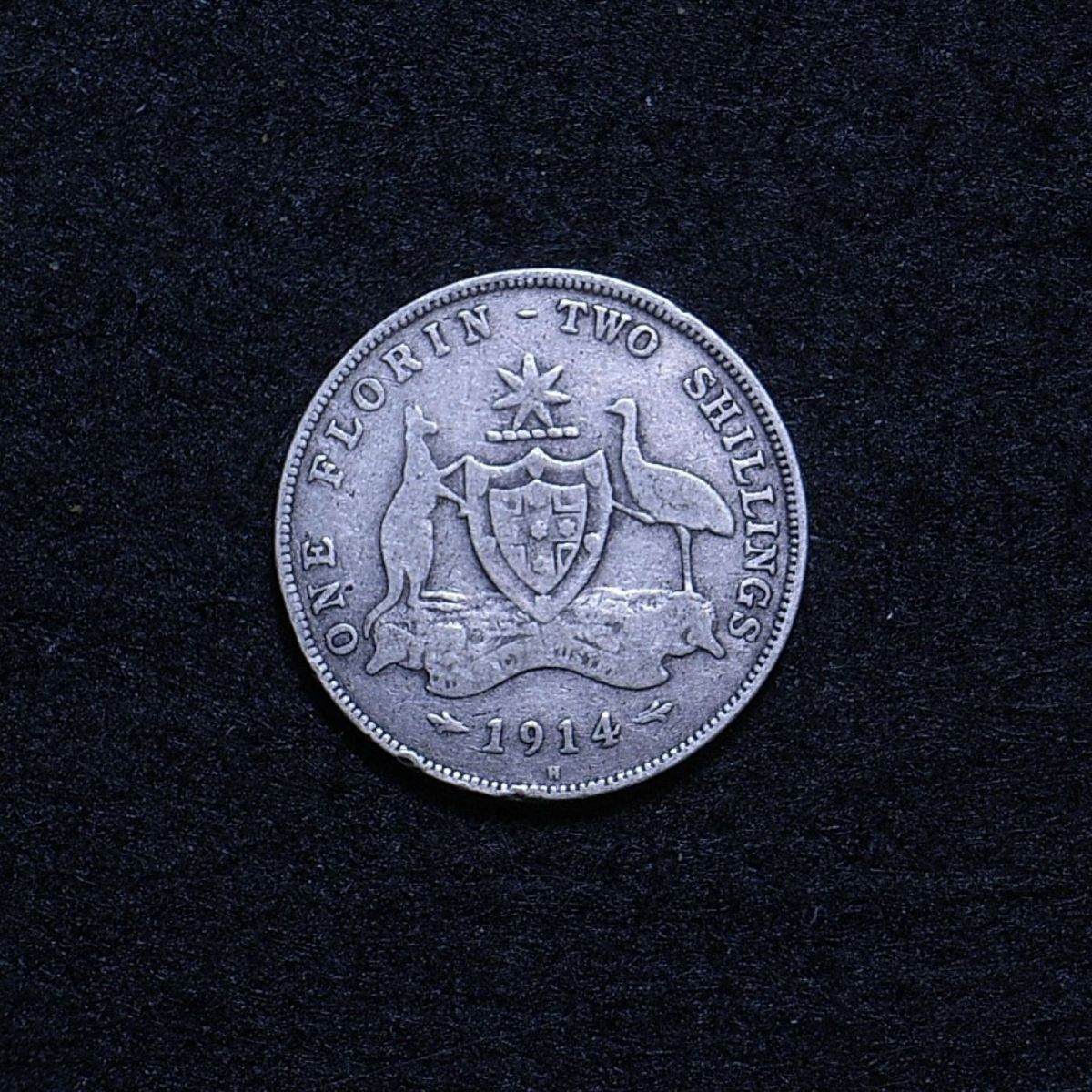 Aus Florin 1914H reverse showing overall appearance