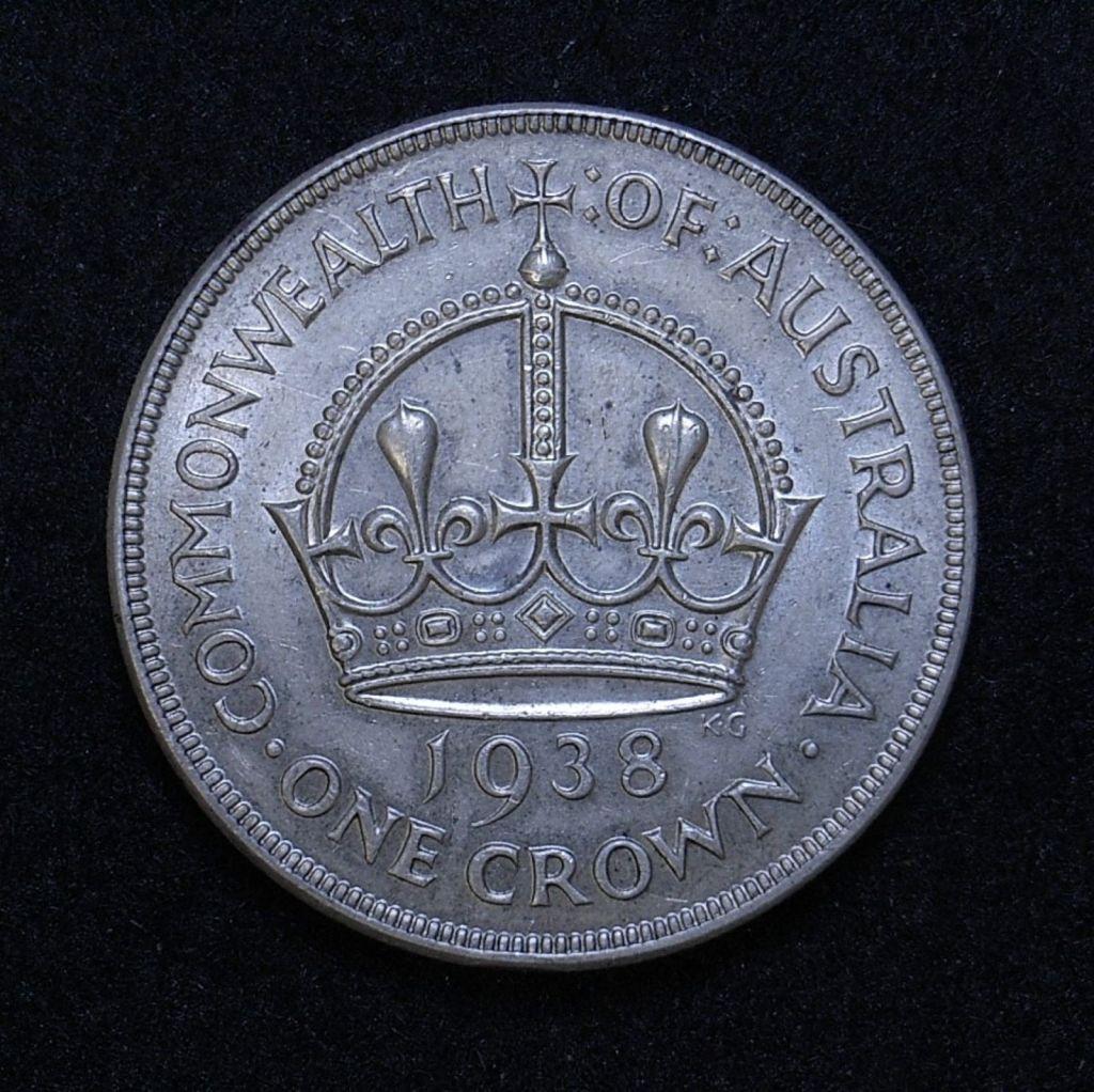 Close up Aus Crown 1938 reverse showing detail