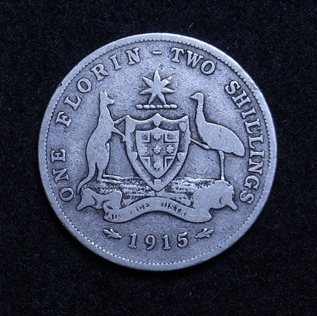 Close up Aus Florin 1915 reverse showing detail
