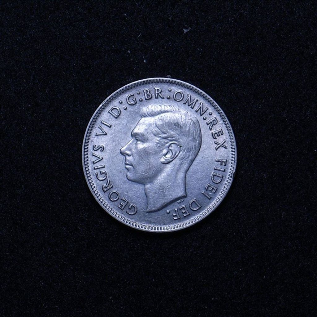 Aus Florin 1951 commemorative obv showing overall appearance