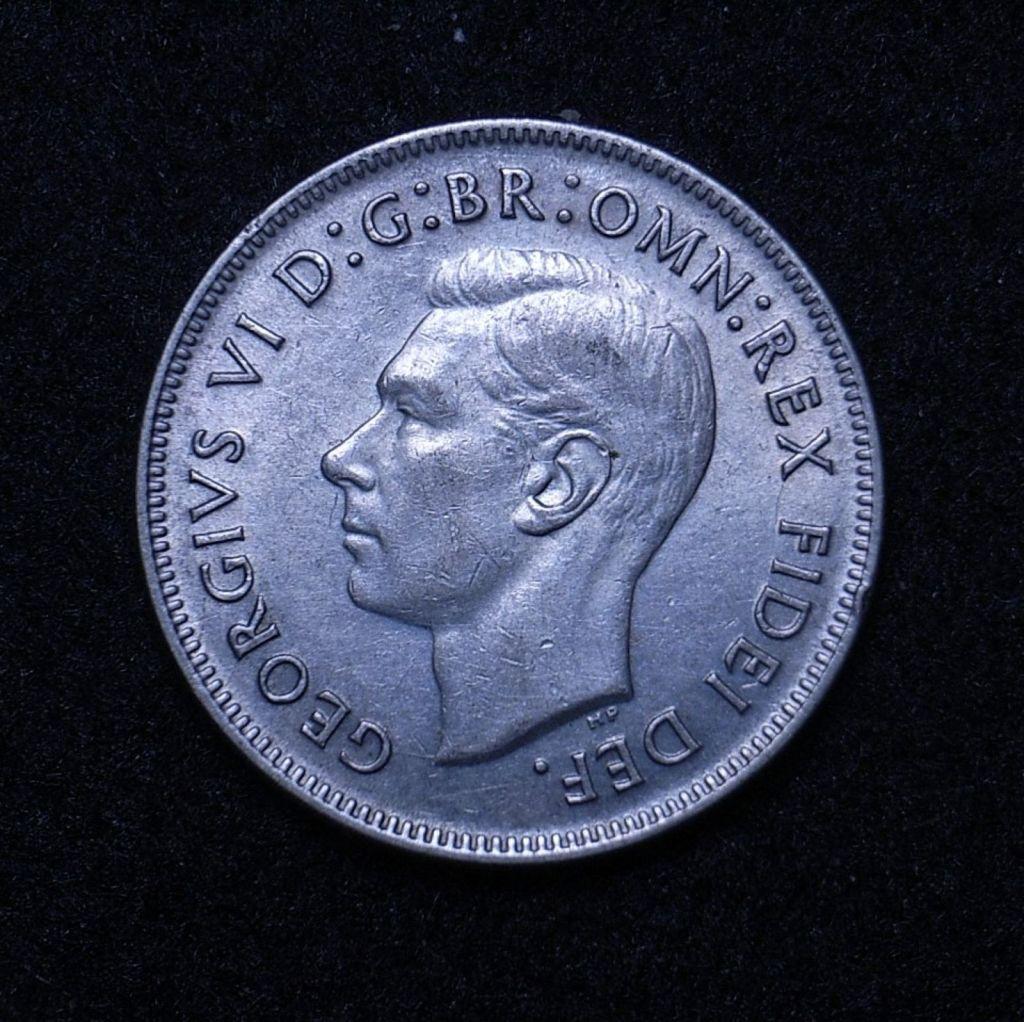 Close up Aus Florin 1951 commemorative obverse showing detail