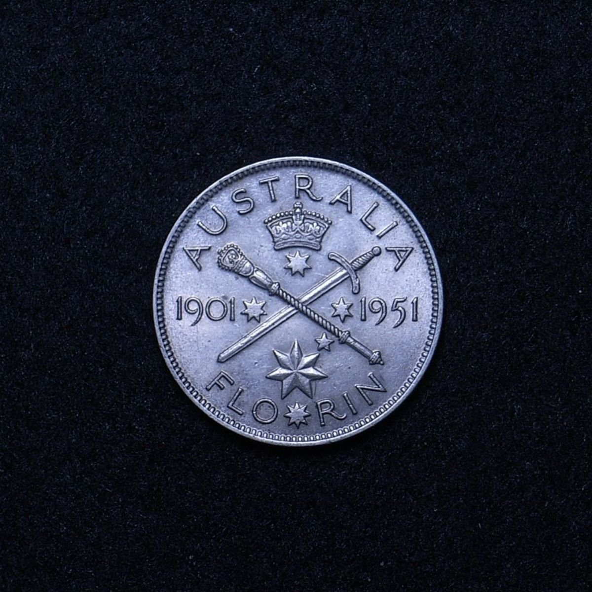 Aus Florin 1951 commemorative reverse showing overall appearance