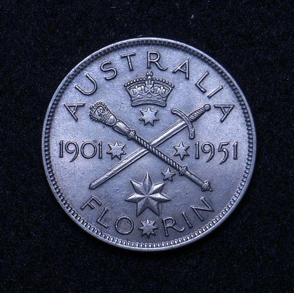 Close up Aus Florin 1951 commemorative reverse showing detail