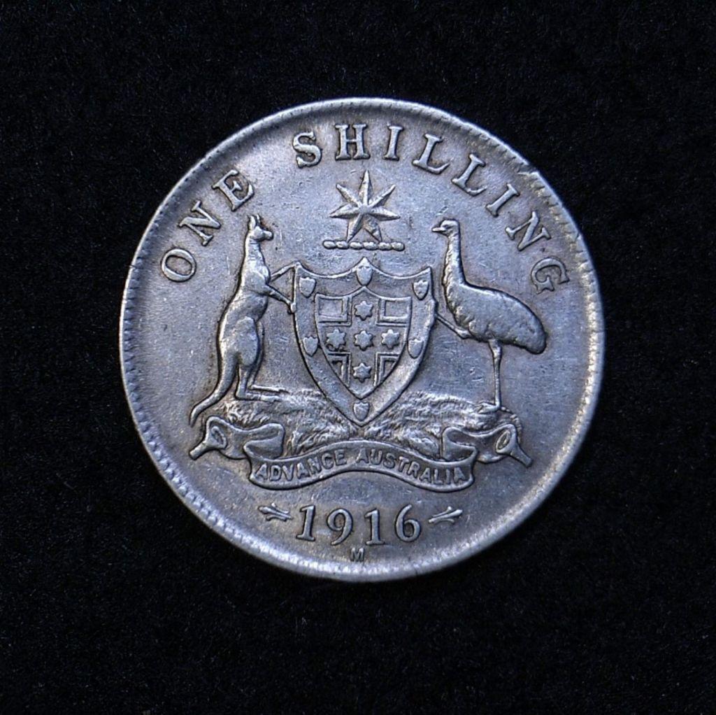 Close up Aus Shilling 1916M reverse showing detail