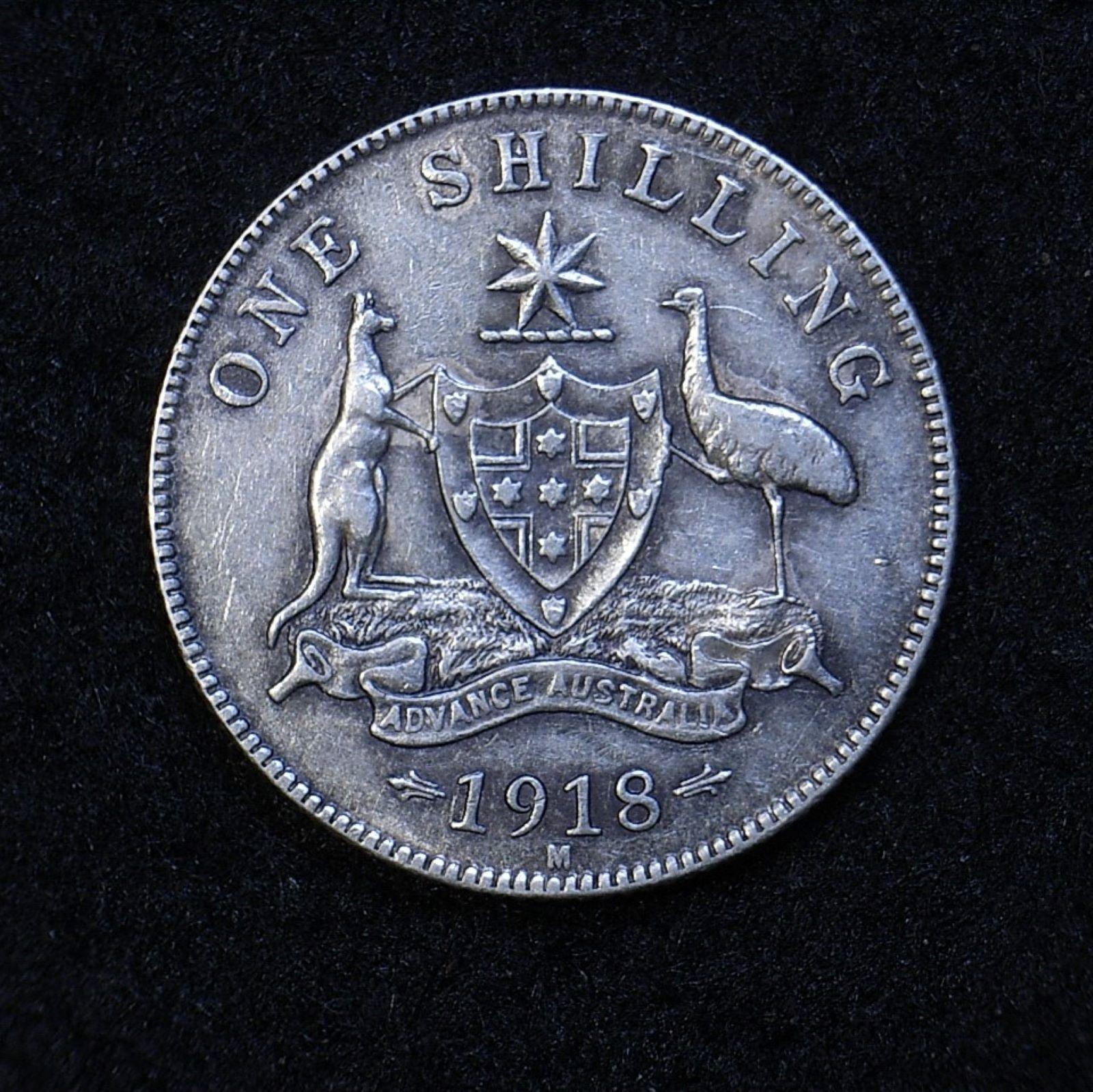 Aus Shilling 1918M rev 1