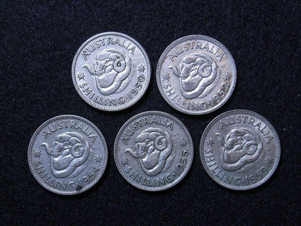 Close up Aus Shillings 50s reverse