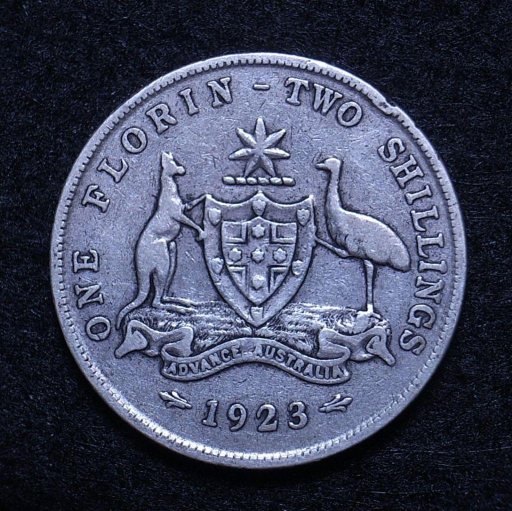 Close up Aus Florin 1923 reverse