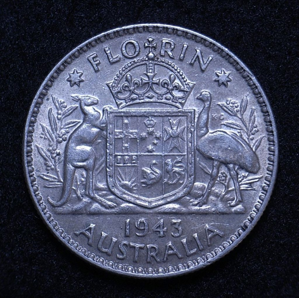 Close up Aus Florin 1943 reverse