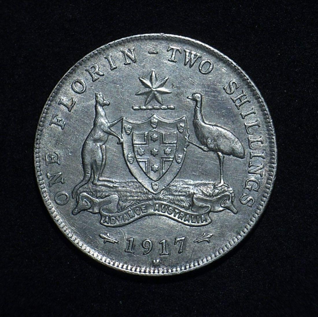 Close up 3 Florin 1917m reverse