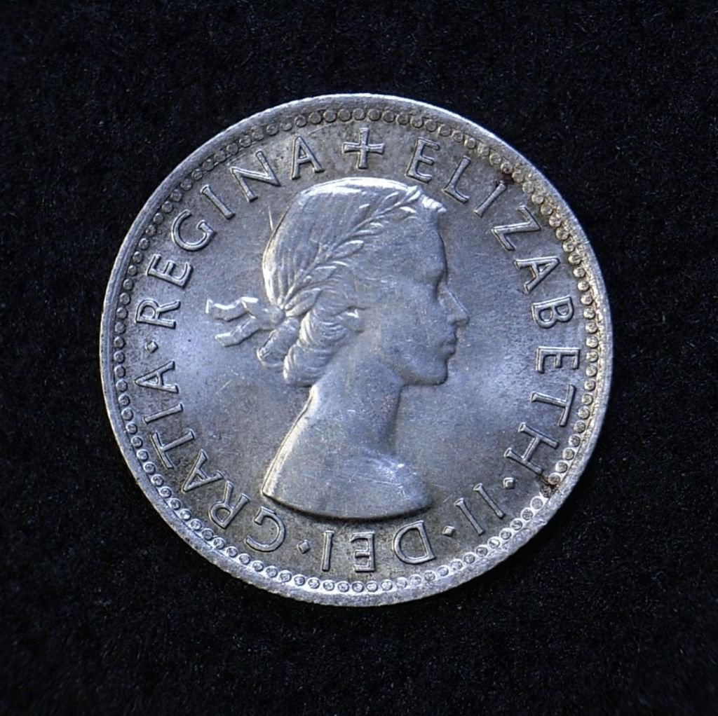 Close up Aus Shilling 1954 obverse