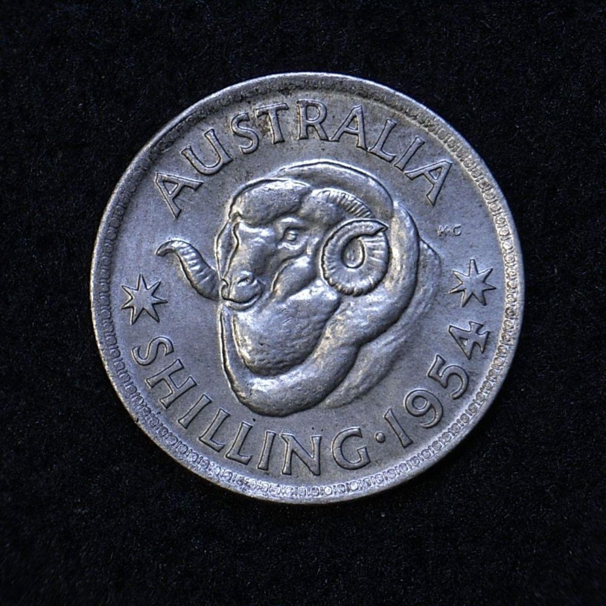 Close up Aus Shilling 1954 reverse