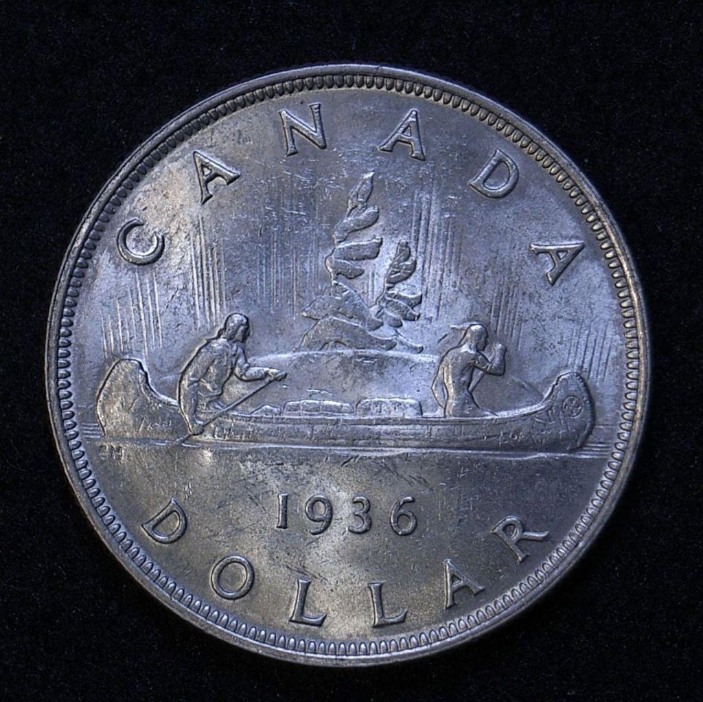 Close up Canada Dollar 1936 reverse