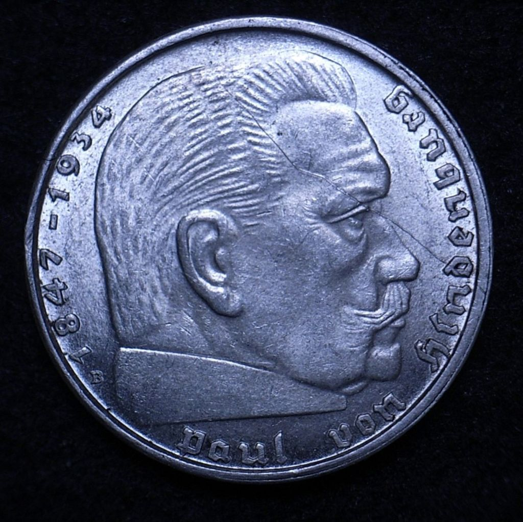 Close up Germany 2 Reichsmarks 1939 obverse