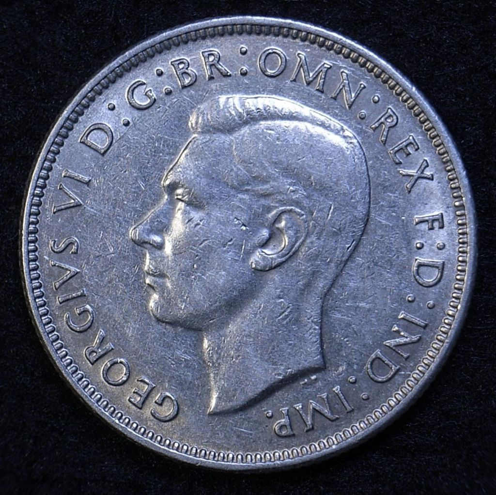 Close upAus Florin 1940 obverse