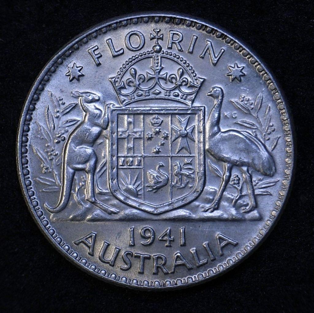 Close up Aus Florin 1941 reverse