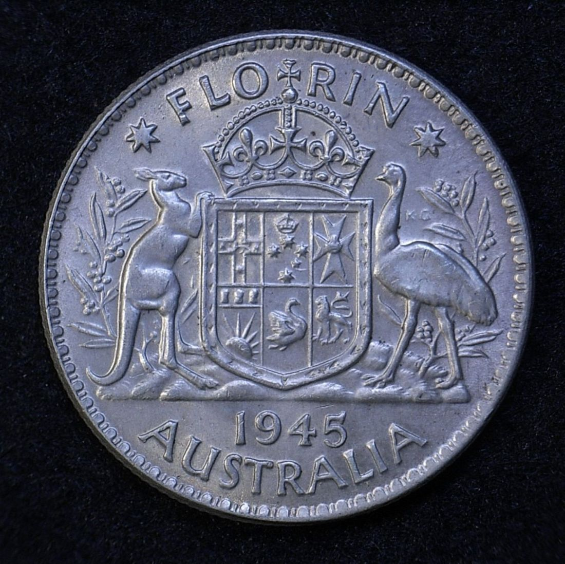 Close up Aus Florin 1945 reverse