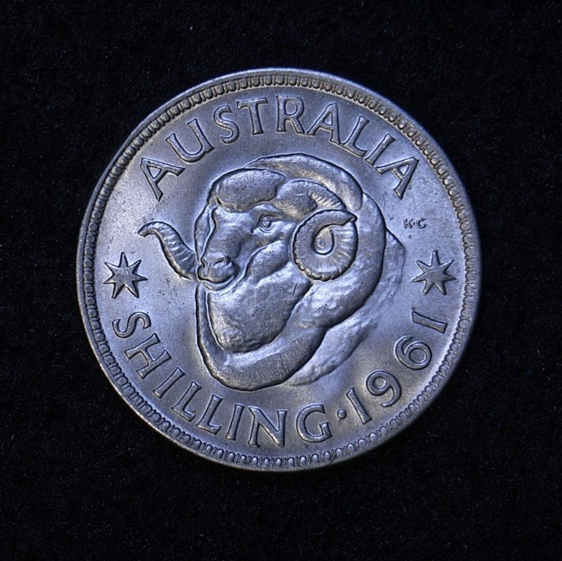 Close up Aus Shilling 1961 reverse
